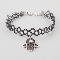 Full Tilt Hamsa Tattoo Choker Black One Size For Women 25976110001