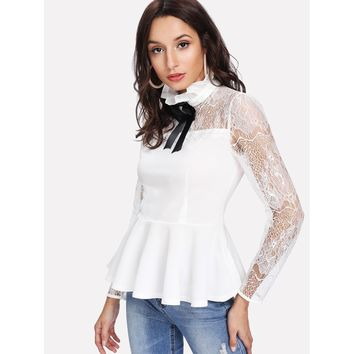 Ruffle Neck Lace Yoke Peplum Top