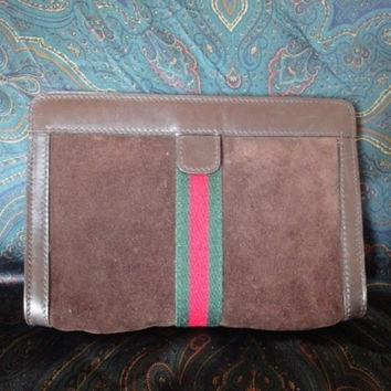 Vintage Gucci Accessary collection brown suede toilet clutch purse. Sherry collection. Very rare material.