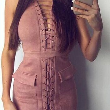 Streetstyle  Casual Pink Pockets Fauz Suede Back Zipper Lace-up Deep V Bodycon Mini Dress