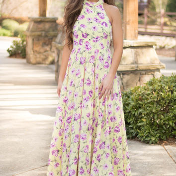 Sunny Cherry Blossom Floral Maxi