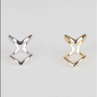 2x Women Ring Joint V Shaped Metal golden