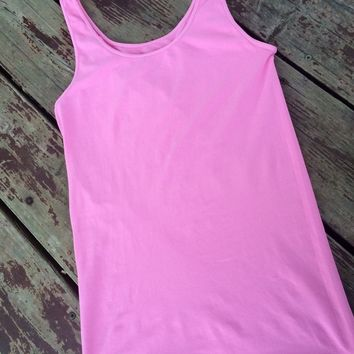 Thick Strap Seamless Tank Neon Pink