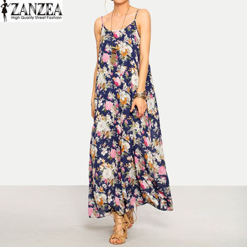 ZANZEA 2017 Summer Womens Sexy Sleeveless Strappy Floral Beach Party Casual Maxi Long Dress Sundress
