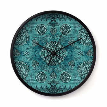 Bohemian Wall Clock with teal floral lace pattern