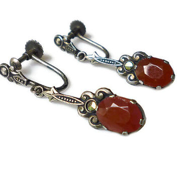 Art Deco Earrings Silver 800 German European Carnelian Gl