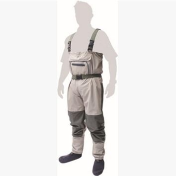 Outdoor men's overalls fishing suspenders pants Siamese trousers waterproof breathable fabric stocking foot wader angling boots