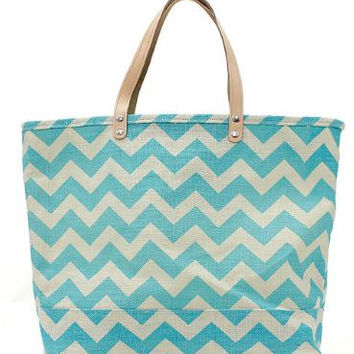 Aqua Chevron Zig Zag Large Natural Jute Tote FREE Personalization Beach Bag Travel Bag Pool Bag Birthday Wedding Party Bridesmaid Bride