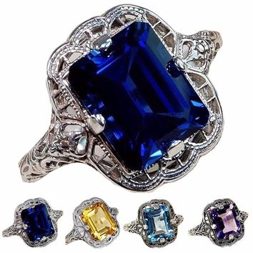 Womens 2CT Blue Sapphire .925 Solid Genuine Sterling Silver Art Deco Filigree Ring Sz 6-10