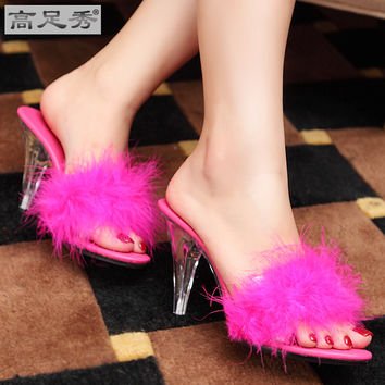 sexy Women's Sandals Multicolor 10cm slippers sexy high heels sexy sandals with transparent glass slipper shoes size