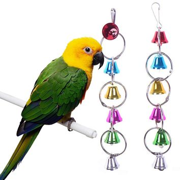 25*5cm Fun Pet Bird Ring Bell Parrot Toys Hanging Squirrel Parakeet Cage Toys Colorful Entertaining Hanging Toys Ladder Swing
