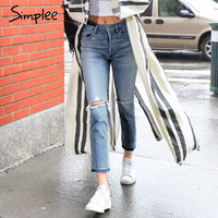 Simplee Basic denim hollow out jeans female Vintage black boyfriend ripped jeans pants Women causal summer 2017 jeans capris