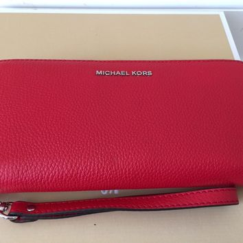 NWT Michael Kors Mercer Continental Zip Around Travel Wrislet Wallet Bright Red