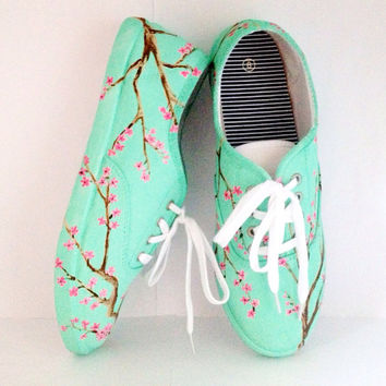 Mint Green Cherry Blossom vans style shoes