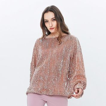 Tops and Tees T-Shirt TWOTWINSTYLE Sequins Female T-shirts Slash Neck T-shirts For Women Lantern Sleeve Top Tee Big Sizes Spring  Korean Clothes AT_60_4 AT_60_4