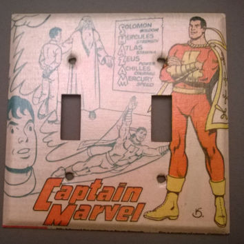 Captain Marvel Shazam Comic Book superhero light switch cover double