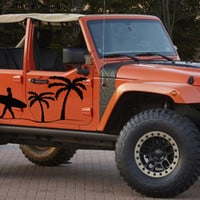 Beach Surfing Surfer Palm Tree Jeep Wrangler Rubicon Car vinyl graphics off-road 4x4  Mud Dirt  j016