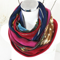 Handmade infinity, Polar velvet tube scarf, Patchwork scarves, Winter scarf Unisex, Red pink blue scarf, Unique items, Christmas gifts