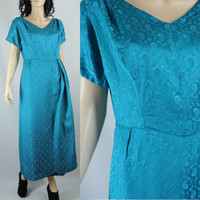 Vintage Dress Sixties Bright Blue Brocade Rayon Paisley Gown, Medium