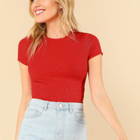 Rib Knit Crop Fitted Tee