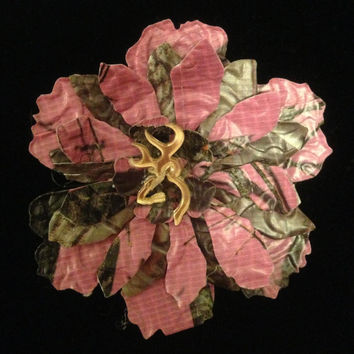 Duct Tape Pink Camo Flower Hair Bow with Buck