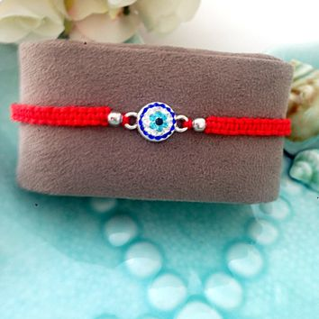 FREE SHIPPING - Evil eye bracelet - red string bracelet - evil eye jewelry - adjustable bracelet - evil eye charm - evil eye beads - red ev
