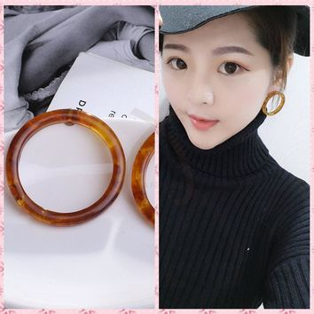 Round Circle Exaggerated Acrylic Acetate Acetic Acid Dangle Earrings Fashion Big Drop Statement Earrings for Women Jewelry 2018