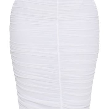 Shape White Mesh Ruched Midi Skirt