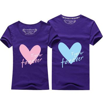 ONETOW T-shirts Tops & Tees 2016 casual shirts Cartoon heart T shirt Plum color College Style T shirt couples clothes lovers t-shirt