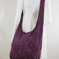 Dark Purple Cotton Printed Standing Coral Crossbody Shoulder Hippie Boho Hobo Messenger Bag E-PC09