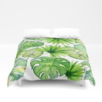 tropical leaves Duvet Cover by sylviacookphotography