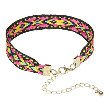 Multi-color Folk Pattern Bracelet with Gold Clasp