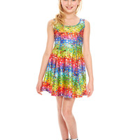 Girls Emoji Rainbow Skater Dress