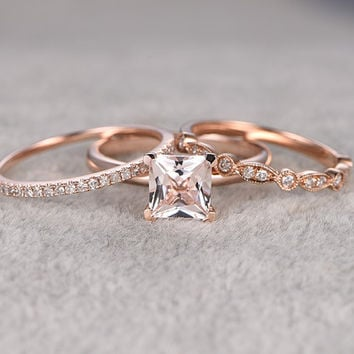 8b507531d58664 3pcs Morganite Bridal Ring Set,Engagement ring Plain Rose gold,Diamond  wedding band,
