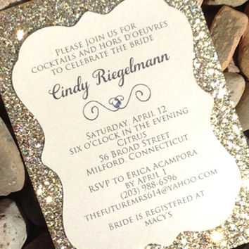 Bridal Shower Invitation - 25 Glitter Bridal Shower Invitations, Engagement Announcement, Wedding Invitations, Gold, Silver, Die-Cut Invite