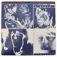 Vintage 80s The Rolling Stones Emotional Rescue Rock Album Record LP with Poster