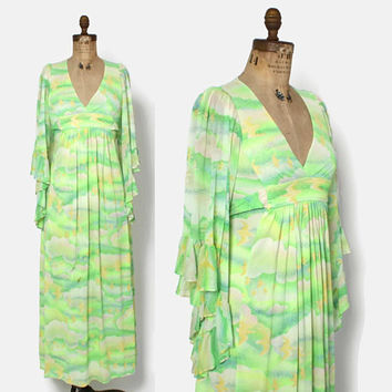 Vintage 70s Bird Print DRESS / 1970s Bohemian Lime Green Angel Sleeve Maxi
