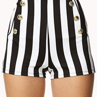 High-Waisted Nautical Striped Shorts