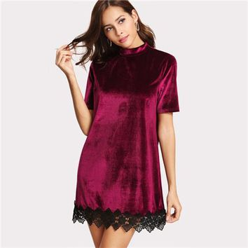 Burgundy Short Sleeve Stand Collar Contrast Lace Straight Dress