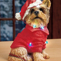 Yorkie Puppy W/LED String Lights & Christmas Santa Hat On/Off Switch Holidays