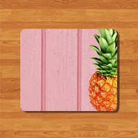 Pink Wood Deco Pad With Hipster Pineapple Fruit Mouse Pad For co-worker Gift Computer Ivory MousePad Light Rubber Word Pad For Girl