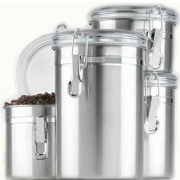 Ss Canister Set W&#47 Clear Lids