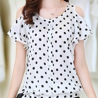 [USD $ 12.95] Off Shoulder Polka Dot Lace Up Short-sleeve-t-shirts