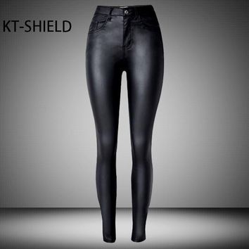 Highwaist skinny Leather Female Biker Jeans
