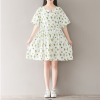 WAIST CACTUS PRINTING TRUMPET COTTON AND LINEN DRESS