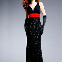PRIMA Glitz GXL1410 Black and Red Sequin Evening Gown