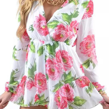 White V Neck Floral Print Long Sleeve Romper