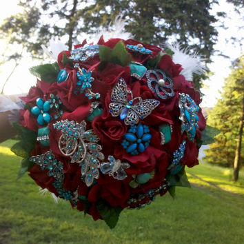 Wedding Bouquet, Roses and Brooches, Bridal, Fabric Flower, Red, Turquoise, Feathers, Leaves, Crimson, Aqua, Vintage Weddings, Bouquet