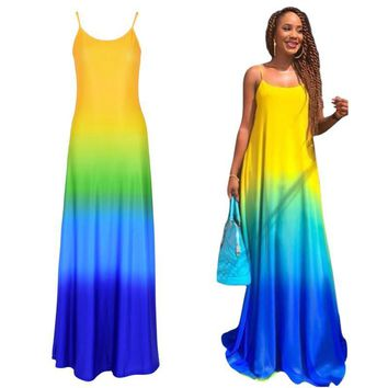Women's Summer Dresses Chiffon Evening Party Beach Long Maxi Dress