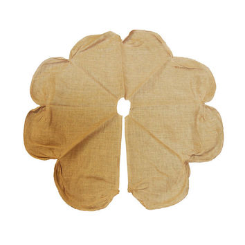 Burlap Tree Skirt Round Ruched Edge, Natural, 42-inch